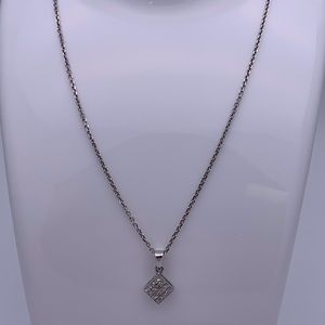 "Jewelry - 14K White Gold .60ct Diamond Pendant and 18"" Chain"